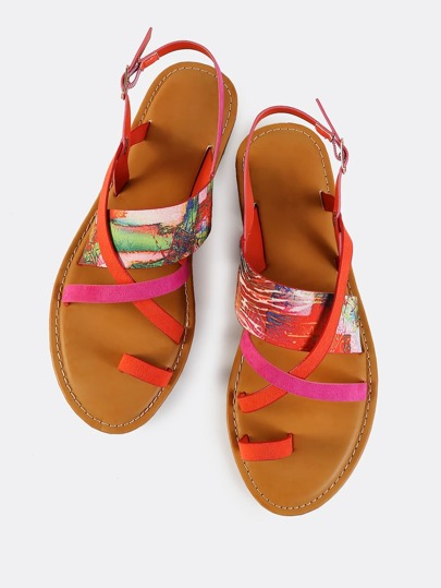 Toe Post Strappy Sling Sandals MULTI