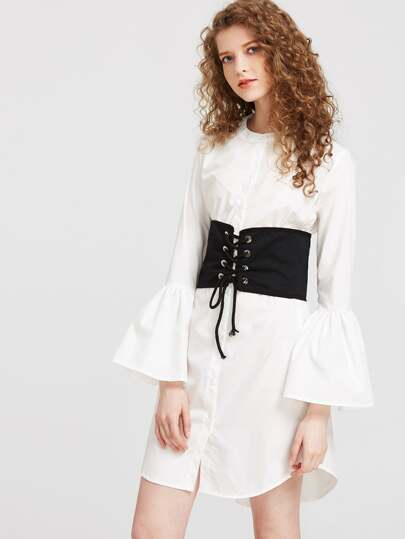 Bell Sleeve Shirt Dress With Obi Detail
