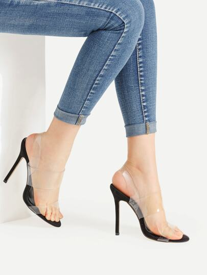 Sandalias de tacón alto delgado con tiras transparentes