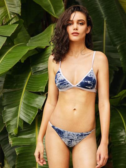Contrast Trim Tie Dye Triangle Bikini Set