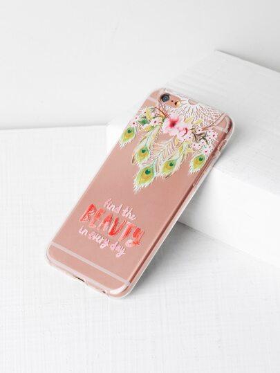 Funda para iPhone 6/6s transparente con estampado de cazador de sueños y flor