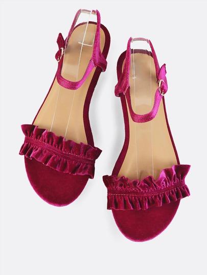 Velvet Ruffle Flat Sandals FUSCHIA