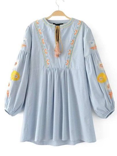 Drop Shoulder Seam Tassel Tie Embroidery Dress