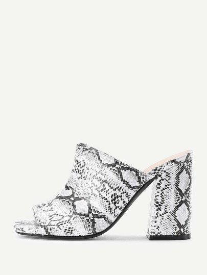 Snake Pattern Peep Toe Block Heeled Mules