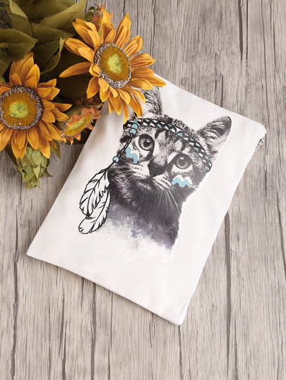 Cat Print Canvas Clutch Bag