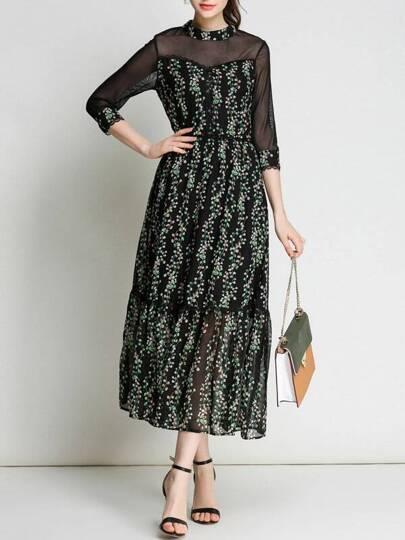 Sheer Floral Hollow Maxi Dress