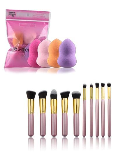 Chunky Makeup Brush And Puff Set