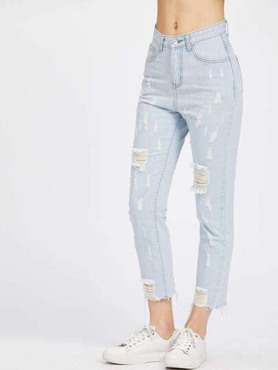 Jeans rétro élimé claire