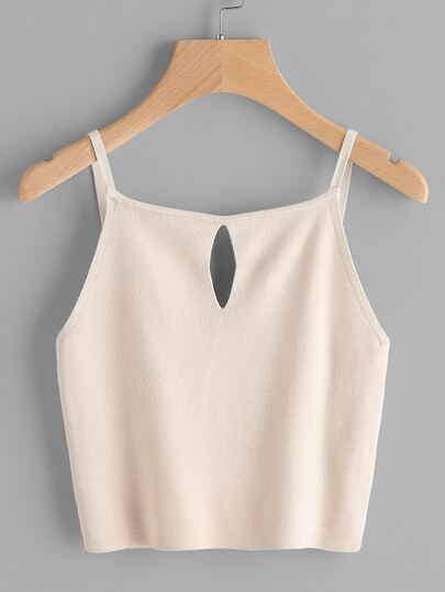 Keyhole Front Crop Knit Cami Top