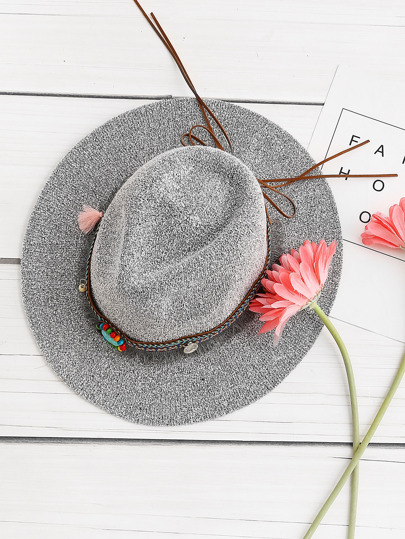 Boho Tassel Straw Hat With Woven Band