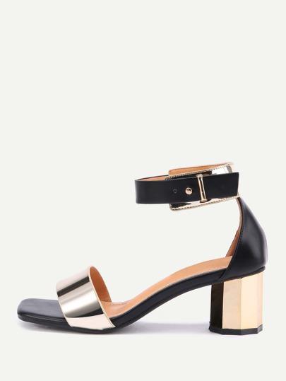 Metallic Two Part Block Heeled Sandals