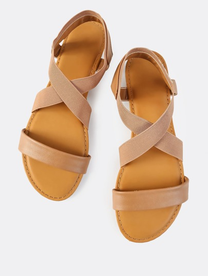 Cross Elastic Strap Sandals TAN