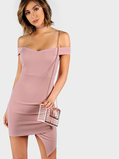 Off Shoulder Pleat Mini Dress BLUSH