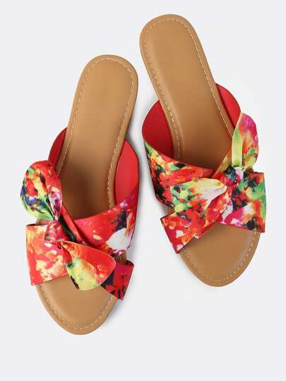 Vibrant Floral Print Bow Slides RED MULTI