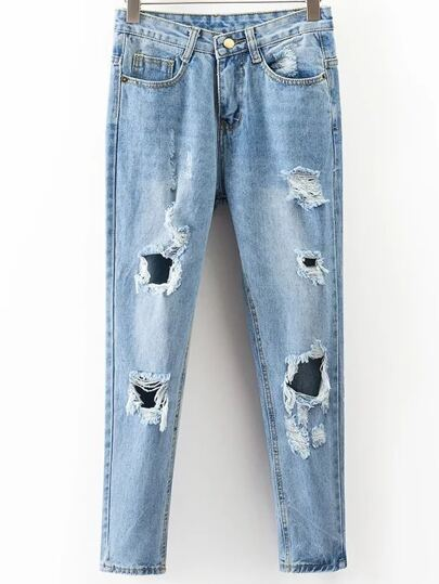 Ripped Detail Boyfriend Jeans