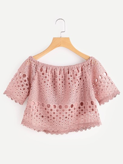 Bardot Hollow Out Lace Top
