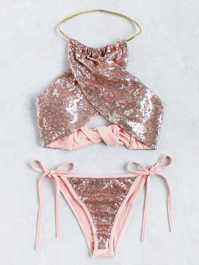 Sequin Overlay Cross Front Halter Bikini Set
