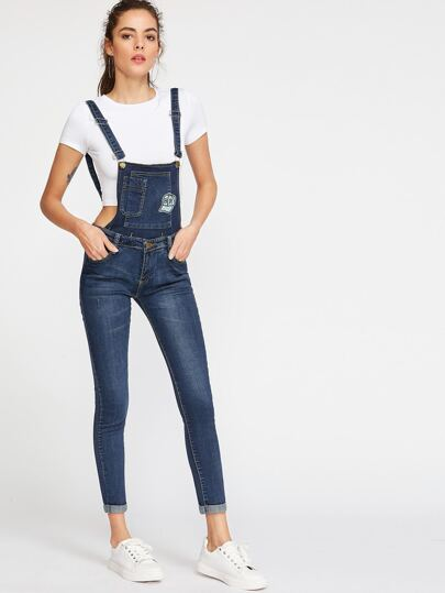 Embroidered Rolled Hem Overall Jeans