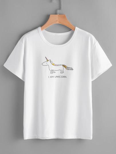 Camiseta con estampado de caricatura