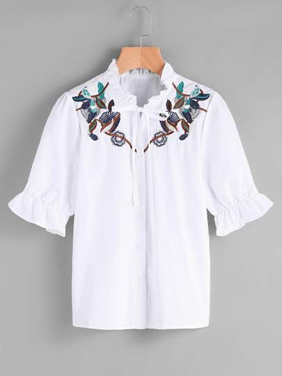 Embroidered Frill Trim Tie Front Shirt