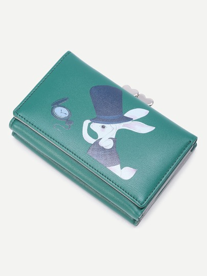 Rabbit And Pocket Watch Print Heart Lock Wallet