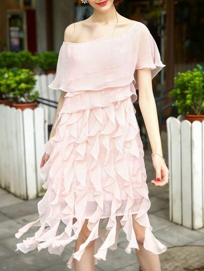 Pink Boat Neck Ruffle Layered Dress