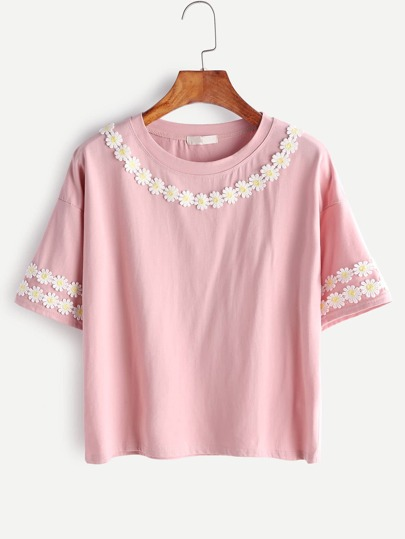 Applique Drop Shoulder Tee