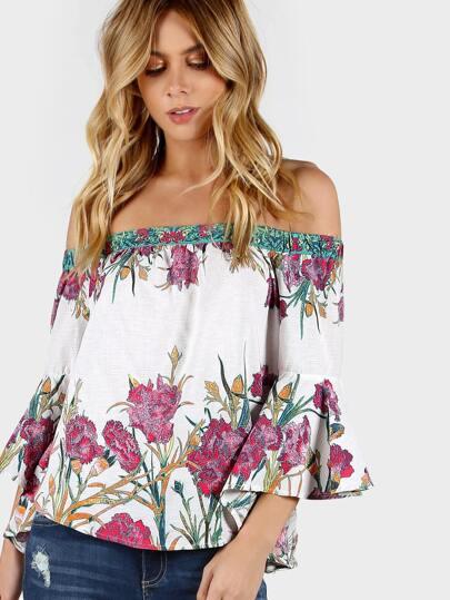 Off Shoulder Floral Print Draped Sleeves Top IVORY