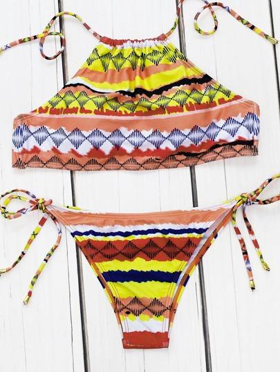 Sets de bikini de espalda abierta con cordón lateral con estampado geométrico