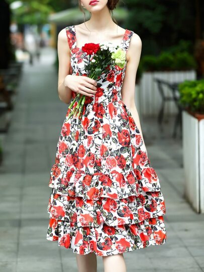 Multicolor Boat Neck Rose Print Layered Dress