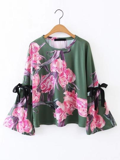 Bell Sleeve Tie Detail Floral Top
