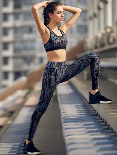 Active Abstract Print Bra With Mesh Panel Leggings