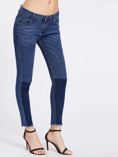Color Contrast Frayed Hem Jeans