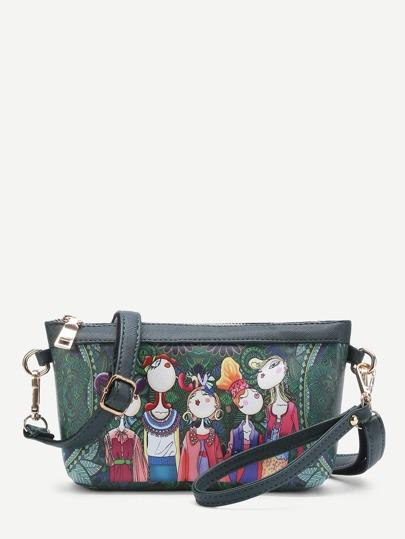 Модная кожаная сумка не регулируемом ремне с принтом