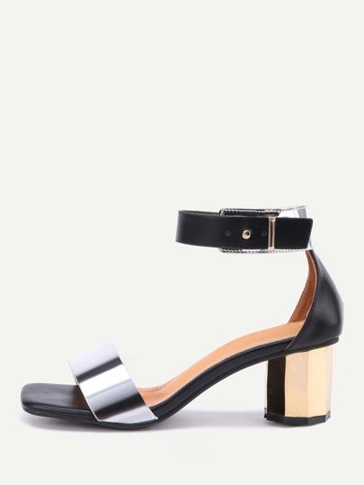 Sandales à talons hauts en métal à deux pièces