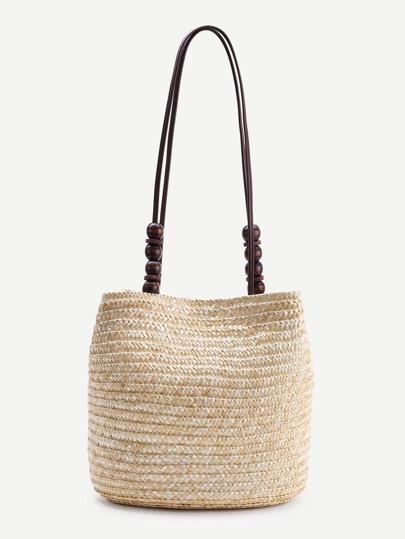 Wood Beaded Detail Straw Shoulder Bag