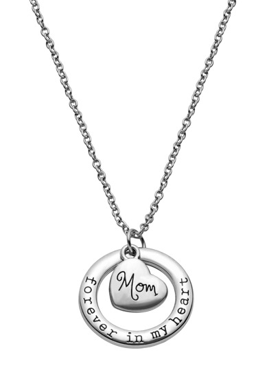 Heart And Open Circle Pendant Necklace
