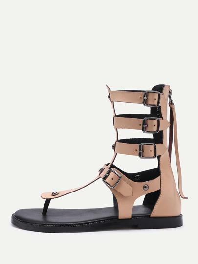 Sandales en PU avec le zip et l'agrafe de courroie