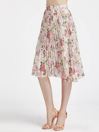 Flower Print Zip Side Pleated Midi Skirt