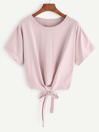 Kurzes Hemd mit Spitze auf der Vorderseite - Pink