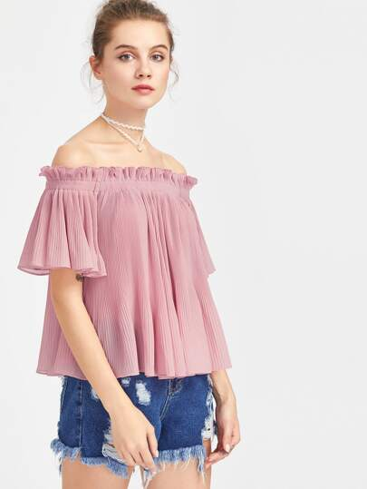 Frilled Off Shoulder Flutter Sleeve Pleated Top