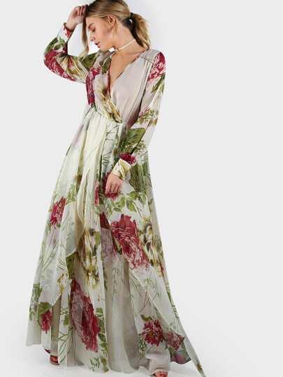 Semi Sheer Flower Print Bishop Sleeve Surplice Wrap Dress