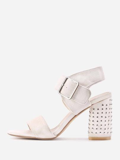 Rivet Studded Block Heeled Sandals