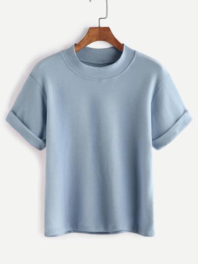 Avec shirt col mock - Bleu