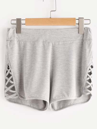 Crisscross Dolphin Hem Heathered Active Shorts