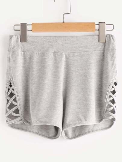 Shorts con tiras cruzadas en la parte lateral - gris