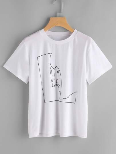 T-shirt con stampa di smoking man