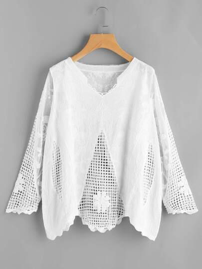 Hollow Out Crochet Mesh Insert Embroidered Top