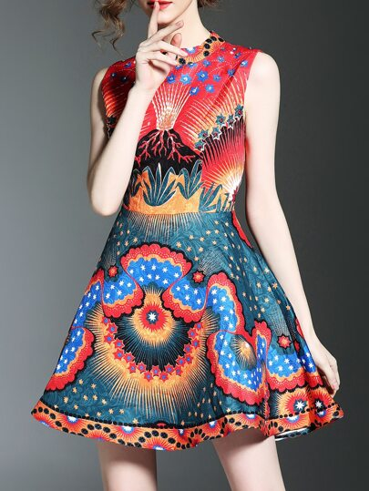 Flowers Jacquard Beading A-Line Dress