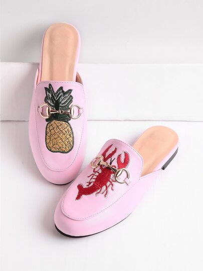 Pineapple And Shrimp Embroidery Metal Detail Loafer Mules